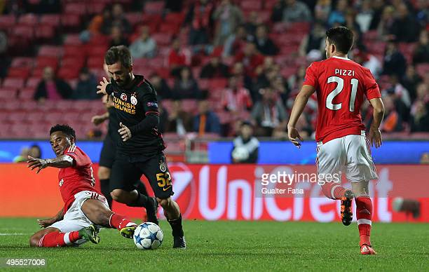 Galatasaray AS midfielder Emre Colak with SL Benfica's defender Eliseu in action during the UEFA Champions League match between SL Benfica and...