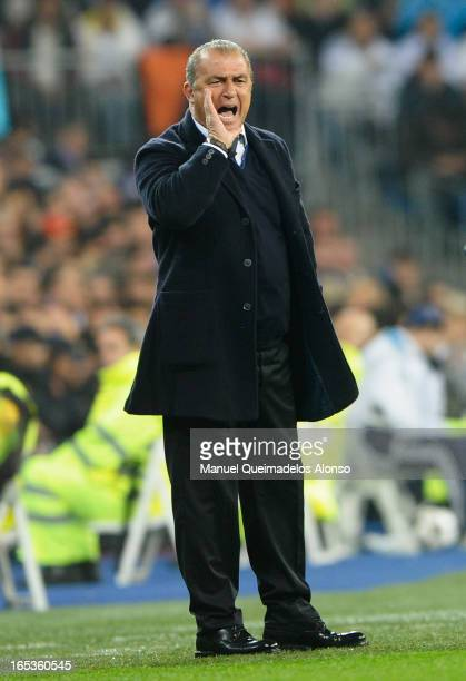 Galatasaray coach Fatih Terim shouts instructions during the UEFA Champions League Quarter Final first leg match between Real Madrid and Galatasaray...