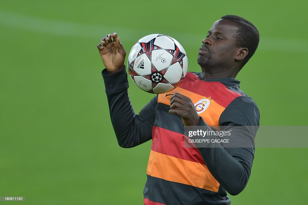 Galatasaray defender Emmanuel Eboue attends a training session on the eve of the Champion's League football match Juventus vs Galatasaray on October 1, 2013 in Turin. Mancini, sacked by Manchester City at the end of last season following a shock defeat to Wigan in the final of the FA Cup, signed a three-year contract to manage the struggling Turkish champions.