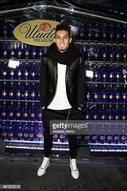 Galatasaray footballer Alex Telles attends Mercedes Benz Fashion Week Istanbul FW15 on March 20 2015 in Istanbul Turkey