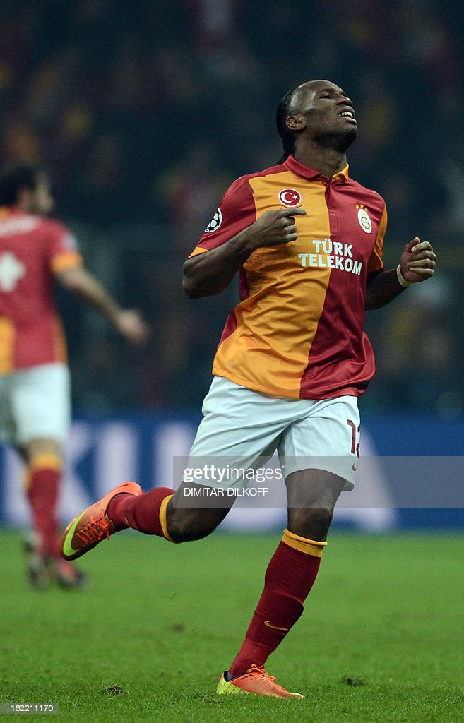Galatasaray forward Didier Drogba reacts during the UEFA Champions League football match Galatasaray vs FC Schalke 04 at the Ali Samiyen stadium in Istanbul on February 20, 2013. AFP PHOTO / DIMITAR DILKOFF