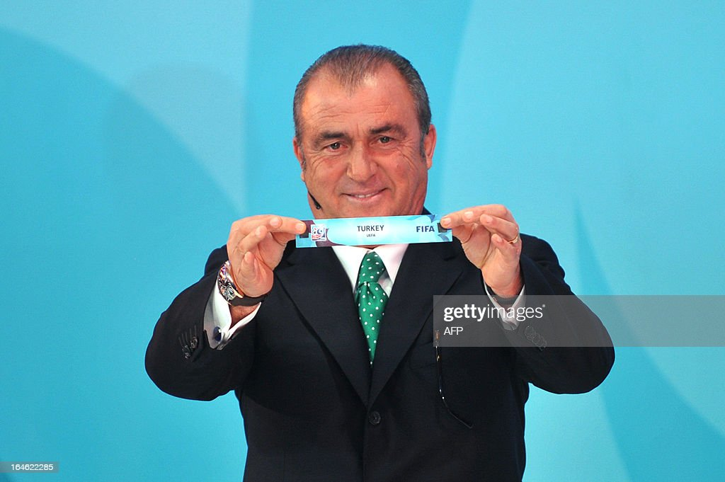 Galatasaray head coach Fatih Terim draws Turkey on March 25 ,2013 during the FIFA U-20 World Cup Turkey 2013 group A draw in istanbul. The FIFA U-20 World Cup will be held in Turkey between June 21 and July 13. KOSE
