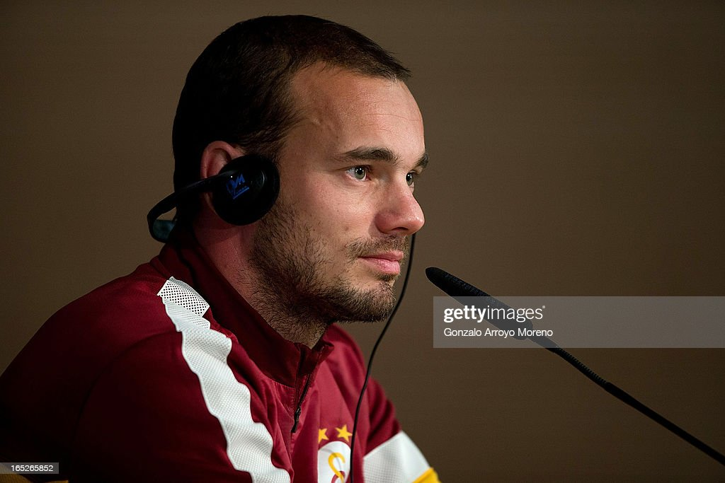 Galatasaray player <a gi-track='captionPersonalityLinkClicked' href=/galleries/search?phrase=Wesley+Sneijder&family=editorial&specificpeople=538145 ng-click='$event.stopPropagation()'>Wesley Sneijder</a> listens to questions from the media during a press conference ahead of the UEFA Champions League Quarterfinal match between Real Madrid and Galatasaray AS at Santiago Bernabeu Stadium on April 2, 2013 in Madrid, Spain.