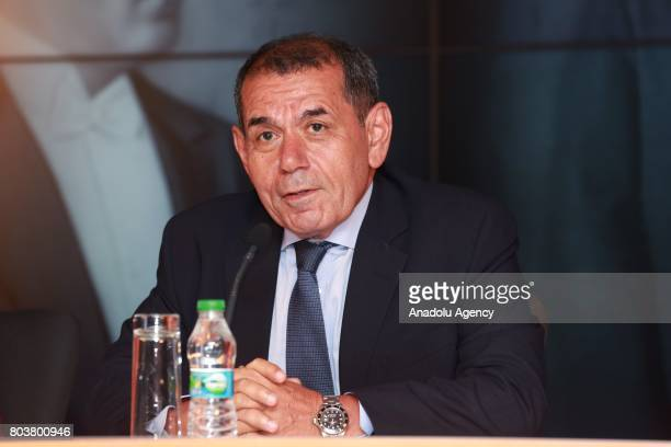 Galatasaray Sports Club President Dursun Ozbek attends signing ceremony for FrenchMoroccan midfielder Younes Belhanda at Turk Telekom Stadium in...