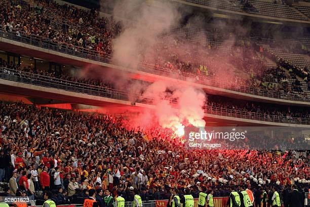 Galatasaray supporters get behind their team in Ataturk Olympic Stadium during the Turkish Cup Final against Fenerbahce May 11 2005 in Istanbul Turkey