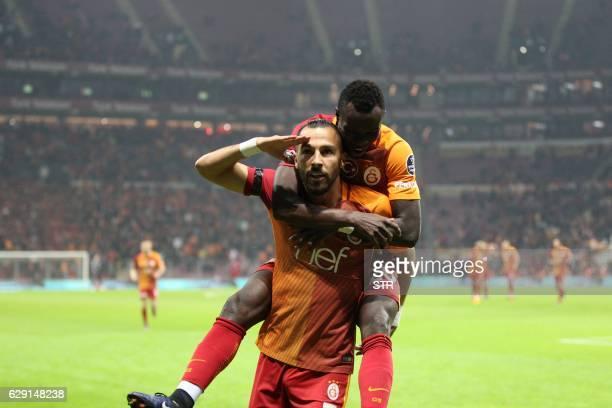 TOPSHOT Galatasaray Yasin Oztekin celebrates after scoring a goal during the Turkish Super Lig football match Galatasaray vs Gaziantepspor on...