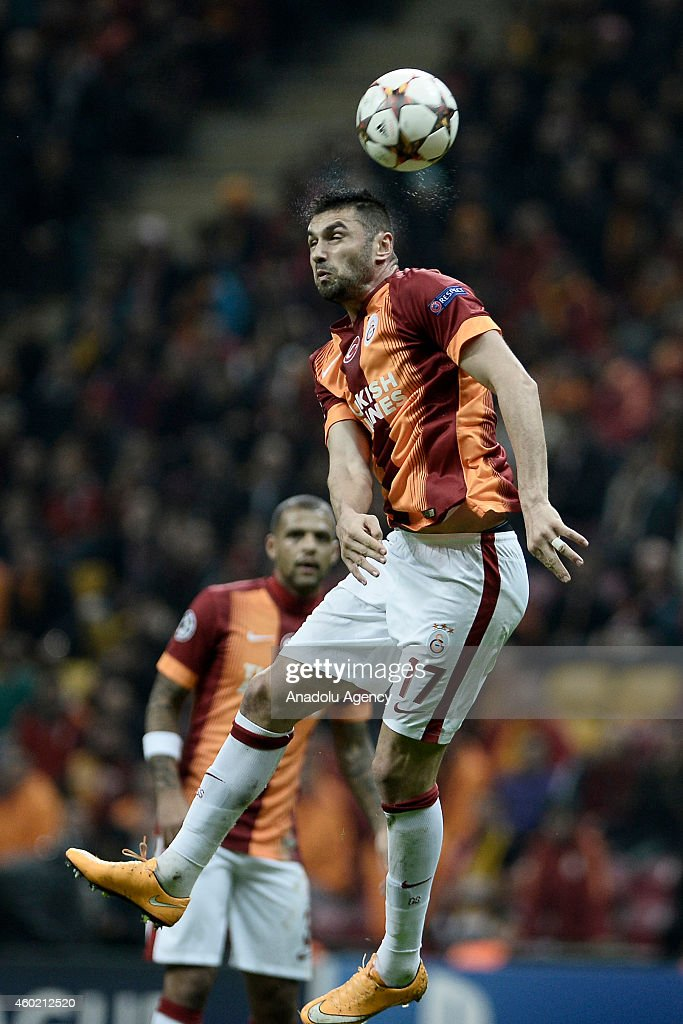 Galatasaray's <a gi-track='captionPersonalityLinkClicked' href=/galleries/search?phrase=Burak+Yilmaz&family=editorial&specificpeople=8254293 ng-click='$event.stopPropagation()'>Burak Yilmaz</a> is in action during the UEFA Champions League Group D match between Galatasaray and Arsenal at Turk Telekom Arena Stadium in Istanbul, Turkey, on December 9, 2014.