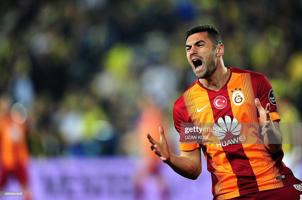 Galatasaray's <a gi-track='captionPersonalityLinkClicked' href=/galleries/search?phrase=Burak+Yilmaz&family=editorial&specificpeople=8254293 ng-click='$event.stopPropagation()'>Burak Yilmaz</a> reacts during the Turkish Sport Toto Super League football match Fenerbahce vs Galatasaray at the Fenerbahce Sukru Saracoglu Stadium, in Istanbul, on March 8, 2015. AFP PHOTO /OZAN KOSE