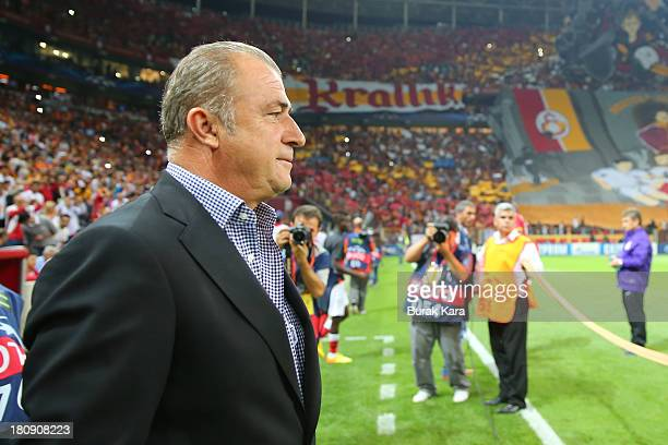 Galatasaray's coach Fatih Terim looks on from the sideline during UEFA Champions League Group B match agaist Real Madrid at the Ali Sami Yen Area on...