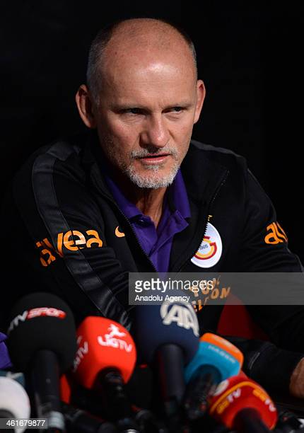 Galatasaray's goolkeeper coach Claudio Taffarel makes a speech about the training camp during a press conference on January 10 2014 in Antalya Turkey