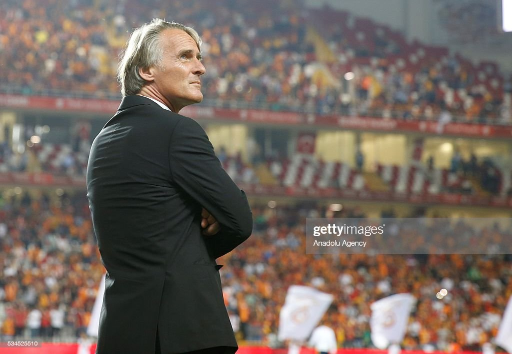Galatasaray's Head coach Jan Olde Riekerink is seen during the Ziraat Turkish Cup Final match between Galatasaray and Fenerbahce at Antalya Ataturk Stadium in Antalya, Turkey on May 26, 2016.