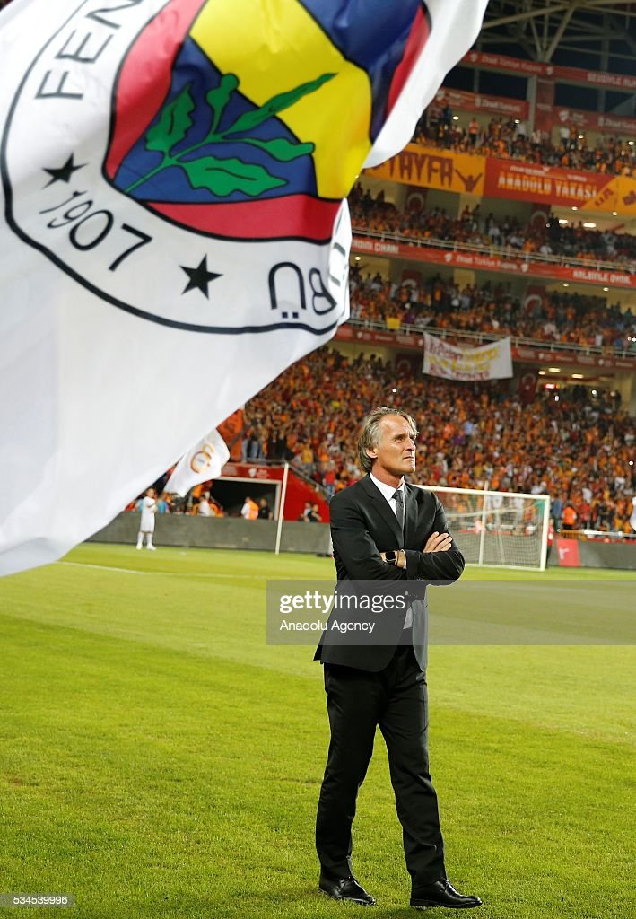 Galatasaray's Head coach Jan Olde Riekerink is seen during the Ziraat Turkish Cup Final match between Galatasaray and Fenerbahce at Antalya Ataturk Stadium in Antalya, Turkey on May 26, 2016.