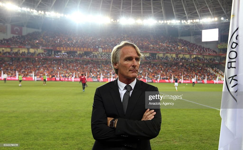Galatasaray's Head coach Jan Olde Riekerink stands on the pitch during the Ziraat Turkish Cup Final match between Galatasaray and Fenerbahce at Antalya Ataturk Stadium in Antalya, Turkey on May 26, 2016.
