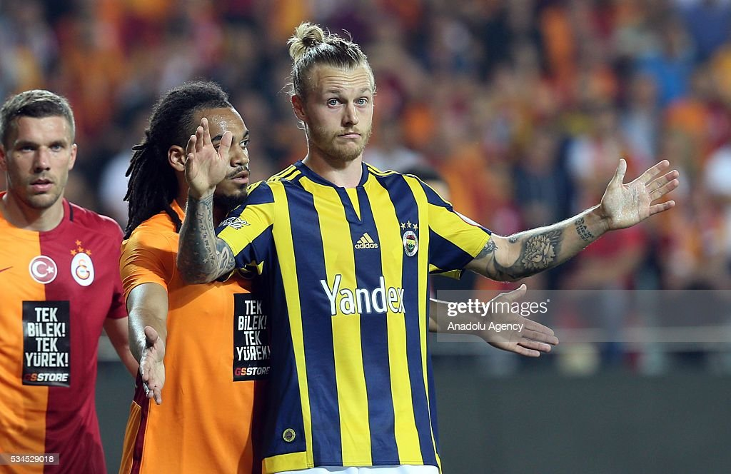 Galatasaray's Lukas Podolski (left), Jason Denayer (C) and Fenerbahce's Simon Kjaer (R) are seen during the Ziraat Turkish Cup Final match between Galatasaray and Fenerbahce at Antalya Ataturk Stadium in Antalya, Turkey on May 26, 2016.