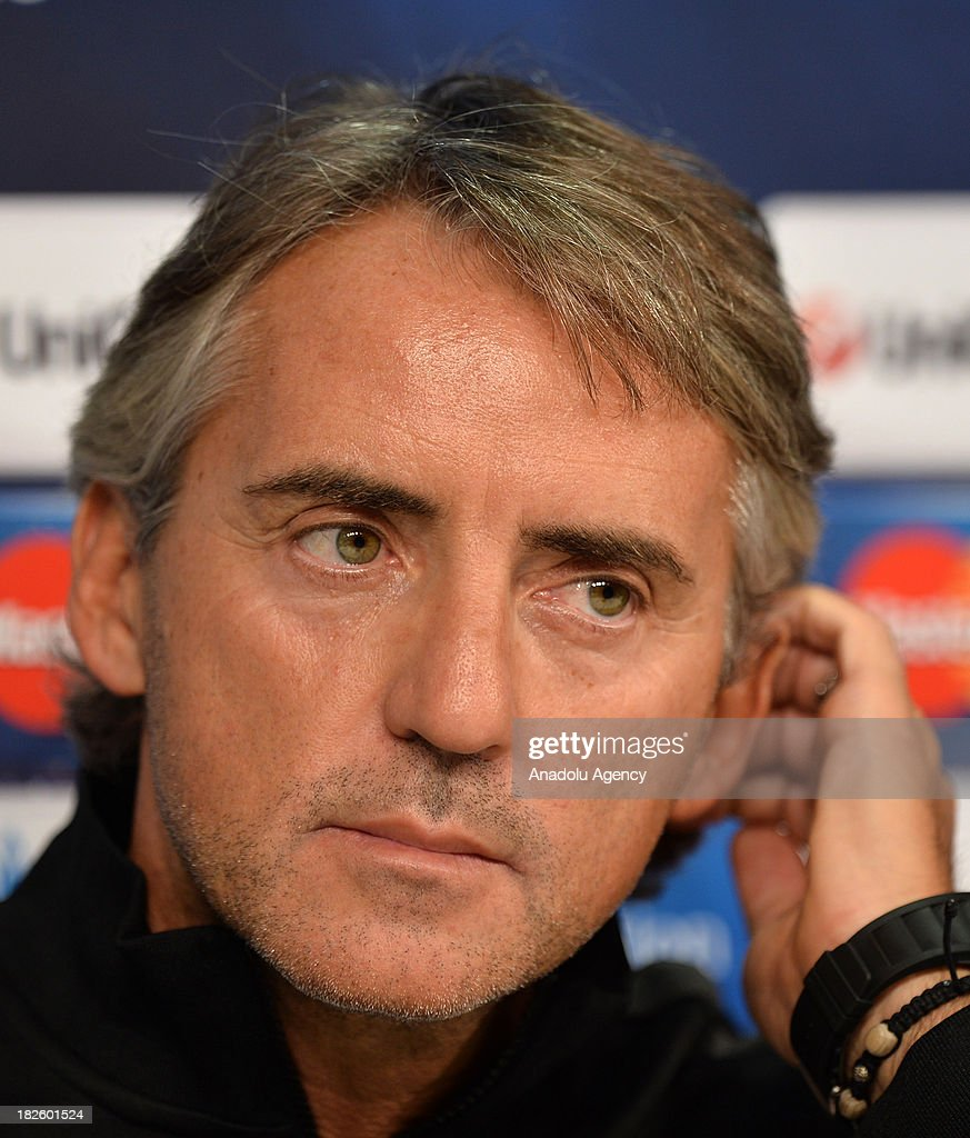 Galatasaray's new head coach Roberto Mancini attends a press conference ahead of Champions League group B soccer match between Juventus and Galatasaray at the Juventus stadium on October 01, 2013 in Turin, Italy.