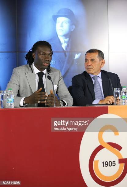 Galatasaray's new signing Bafetimbi Gomis speaks during the signing ceremony with Galatasaray Sports Club President Dursun Ozbek at Turk Telekom...
