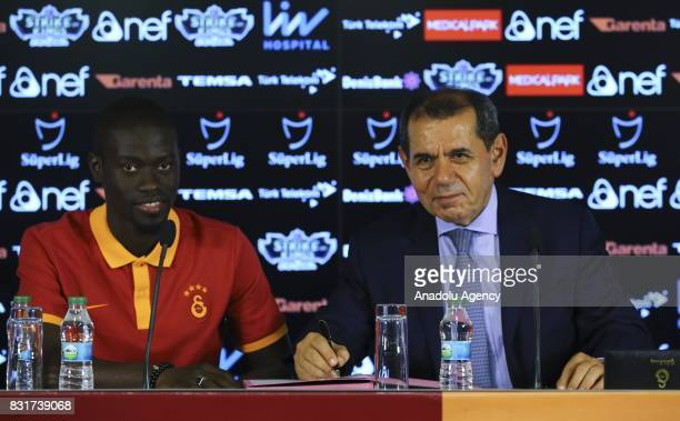 Galatasaray's new transfer Badou Ndiaye and Galatasaray's President Dursun Ozbek sattend a signing ceremony at Turk Telekom Stadium in Istanbul...