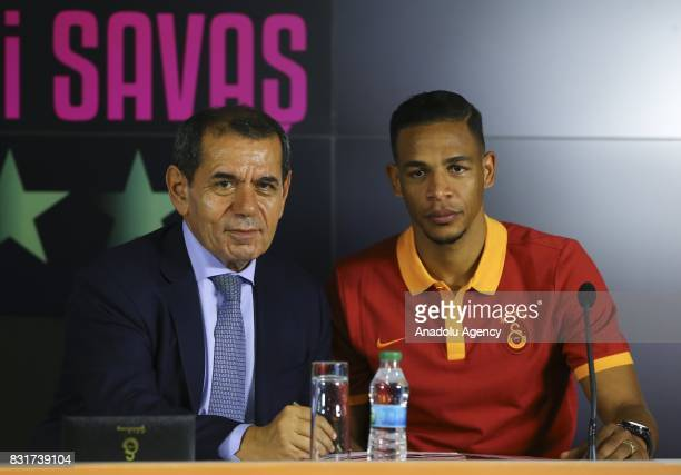Galatasaray's new transfer Fernando attends a signing ceremony with Galatasaray's President Dursun Ozbek at Turk Telekom Stadium in Istanbul Turkey...