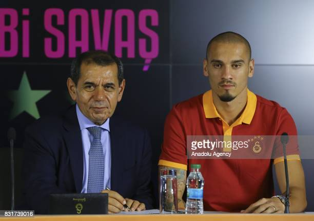 Galatasaray's new transfer Maicon attends a signing ceremony with Galatasaray's President Dursun Ozbek at Turk Telekom Stadium in Istanbul Turkey on...