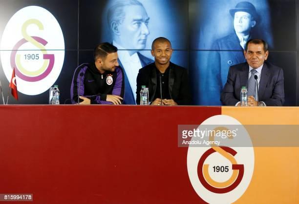 Galatasaray's new transfer Mariano Ferreira Filho and Galatasaray's President Dursun Ozbek speak during the signing ceremony at Turk Telekom Stadium...