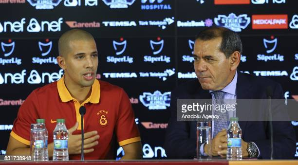 Galatasaray's new transfer Sofiane Feghouli speaks to the press as he attends a signing ceremony with Galatasaray's President Dursun Ozbek at Turk...