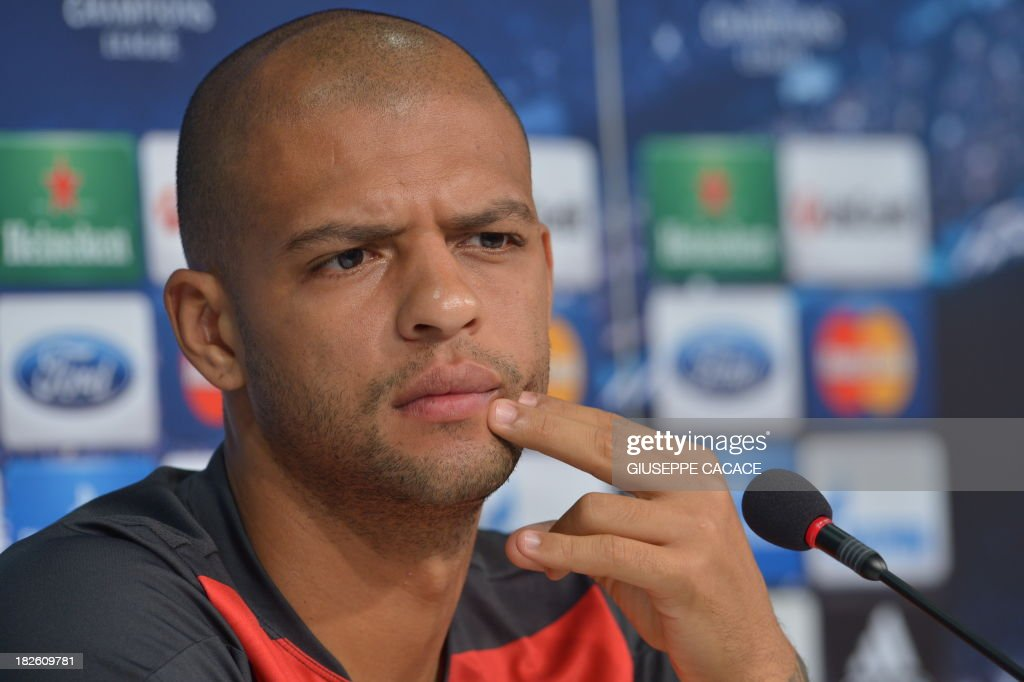 Galatasaray's player Felipe Melo attends a press conference on the eve of the Champion's League football match Juventus vs Galatasaray on October 1, 2013 in Turin.