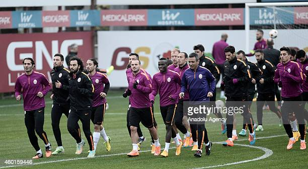 Galatasaray's players take part in a training session at Metin Oktay Facilities a day before the UEFA Champions League Group D soccer match against...