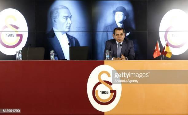 Galatasaray's President Dursun Ozbek speak during the signing ceremony for Galatasaray's new transfer Mariano Ferreira Filho at Turk Telekom Stadium...