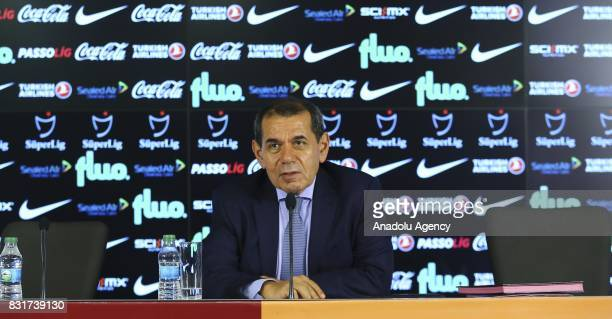 Galatasaray's President Dursun Ozbek speaks to press during a signing ceremony of Galatasaray's new transfers Fernando Badou Ndiaye Sofiane Feghouli...
