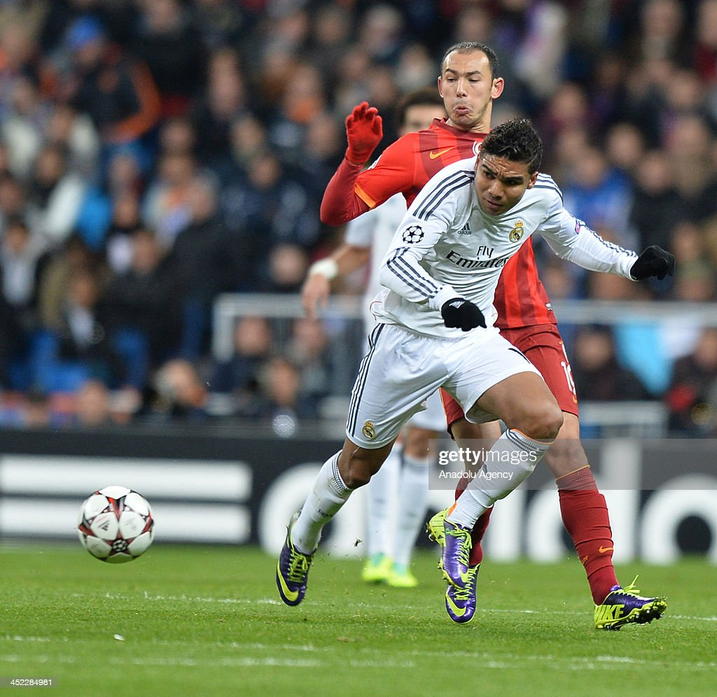 Galatasaray's Umut Bulut vies for the ball during the UEFA Champions League football match between Real Madrid vs Galatasaray at the Santiago Bernabeu Stadium on November 27, 2013 in Madrid.