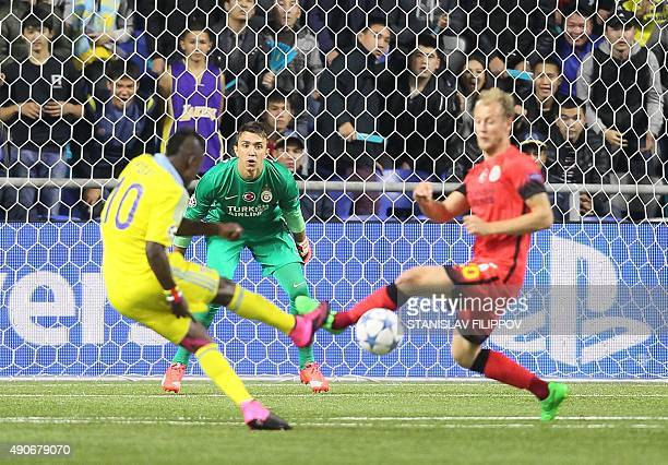 Galatasaray's Uruguayan goalkeeper Fernando Muslera eyes the ball during the UEFA Champions League group C football match between FC Astana and...