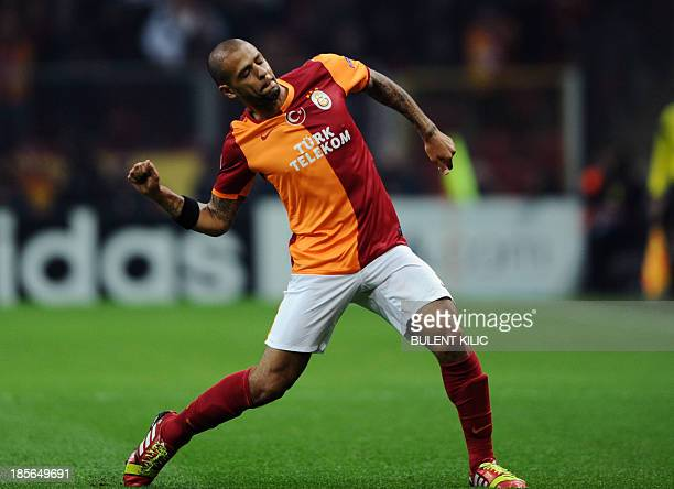 Galatasaray'sBrazilian midfielder Felipe Melo celebrates scoring a goal during the UEFA Champions League Group B football match between Galatasaray...