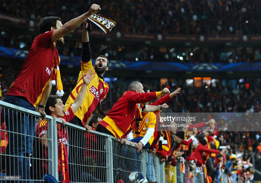 Galatasary fans celebrate victory after the UEFA Champions League Group H match between Galatasaray and Manchester United at the Turk Telekom Arena on November 20, 2012 in Istanbul, Turkey.