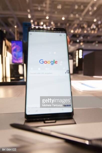 Galaxy 8 smartphone shows a Google homepage at the Samsung stand at the 2017 IFA consumer electronics and home appliances trade fair on September 1...