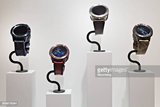 Galaxy Gear S3 Frontier model smartwatches produced by Samsung Electronics Co stands on display during the 2017 Baselworld luxury watch and jewelery...