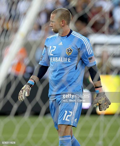 LA Galaxy Goalkeeper Josh Saunders reacts to the goal by Real Madrid's Callejon during the Herbalife World Football Challenge Friendly match between...