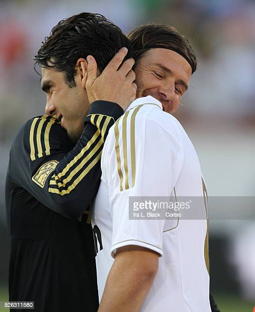 LA Galaxy player David Beckham and Real Madrid's Kaka share a hug prior to the Herbalife World Football Challenge Friendly match between LA Galaxy...