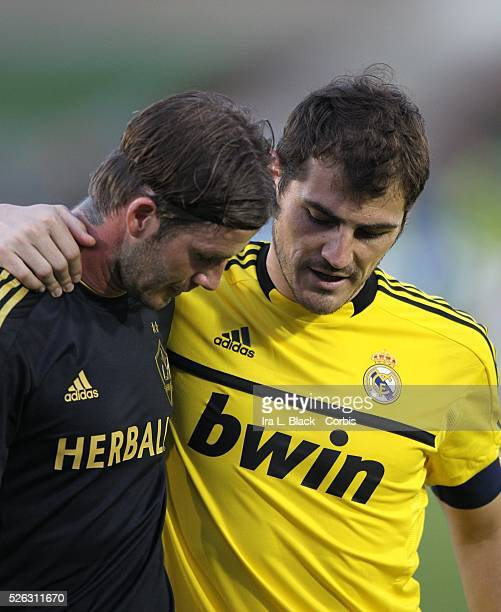 LA Galaxy player David Beckham Real Madrid Captain Iker Casillas share a moment after the Herbalife World Football Challenge Friendly match between...