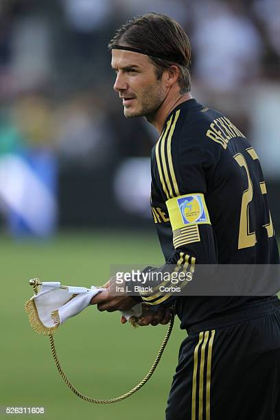 LA Galaxy player David Beckham wears the captain arm band during the Herbalife World Football Challenge Friendly match between LA Galaxy and Real...