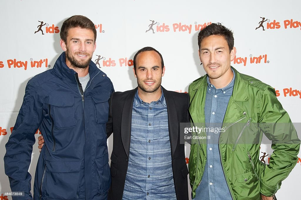LA Galaxy Soccer Players (L-R) Tommy Meyer, <a gi-track='captionPersonalityLinkClicked' href=/galleries/search?phrase=Landon+Donovan&family=editorial&specificpeople=171601 ng-click='$event.stopPropagation()'>Landon Donovan</a> and Stefan Ishizaki attend the 5th Annual 'Cocktails For Kids Play' Fundraiser at Shade Hotel on April 10, 2014 in Manhattan Beach, California.