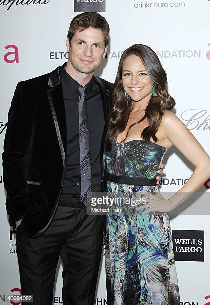 Gale Harold and Yara Martinez arrive at the 20th Annual Elton John AIDS Foundation Academy Awards viewing party held across the street from the...