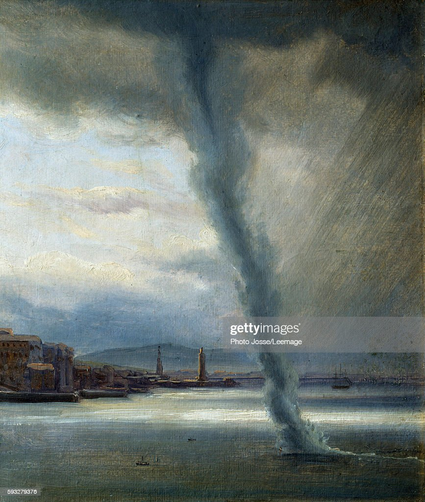 Gale on the Bay of Naples Swirl on the beach during a storm wind Painting by Thomas Fearnley 1833 Oil on paper Nasjonalgalleriet Olso Norway