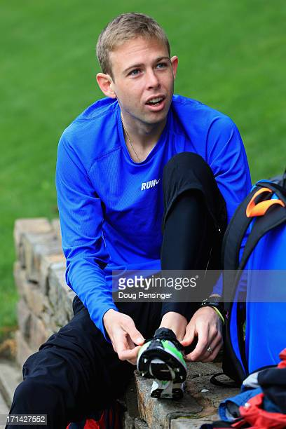 Galen Rupp a member of the Oregon Project puts on his shoes as he trains on the Nike campus on April 13 2013 in Beaverton Oregon Rupp is a distance...