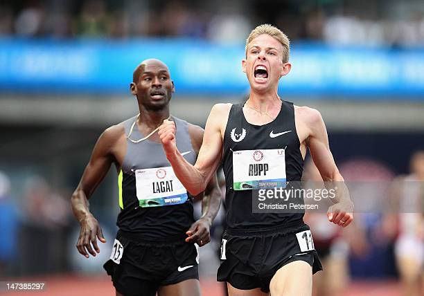 Galen Rupp celebrates after finishing ahead of Bernard Lagat and winning the Men's 5000 Meter Run on day seven of the US Olympic Track Field Team...