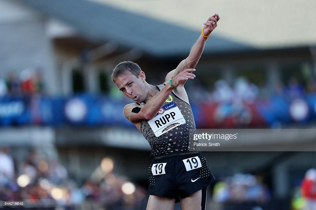 Galen Rupp celebrates after winning the Men's 10000 Meter Final during the 2016 U.S. Olympic Track & Field Team Trials at Hayward Field on July 1, 2016 in Eugene, Oregon.