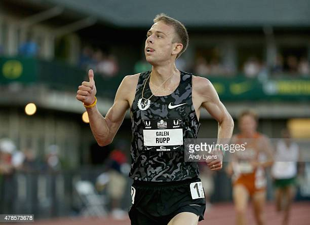 Galen Rupp celebrates as he runs to victory in the Mens 10000 Meter during day one of the 2015 USA Outdoor Track Field Championships at Hayward Field...