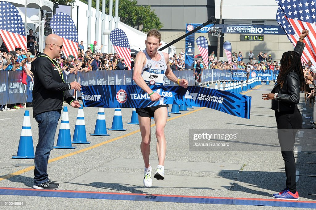 Galen Rupp finishes first in the US Olympic Team Trials Mens Marathon on February 13 2016 in Los Angeles California