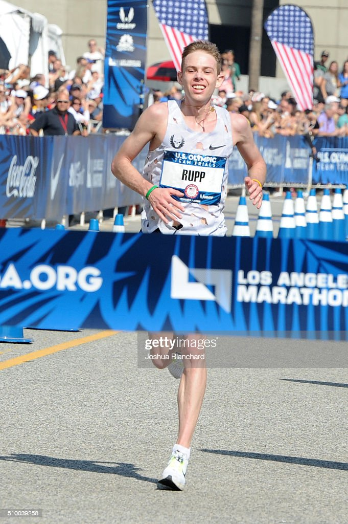 <a gi-track='captionPersonalityLinkClicked' href=/galleries/search?phrase=Galen+Rupp&family=editorial&specificpeople=4076972 ng-click='$event.stopPropagation()'>Galen Rupp</a> finishes in first place finish in the U.S. Olympic Team Trials Men's Marathon on February 13, 2016 in Los Angeles, California.