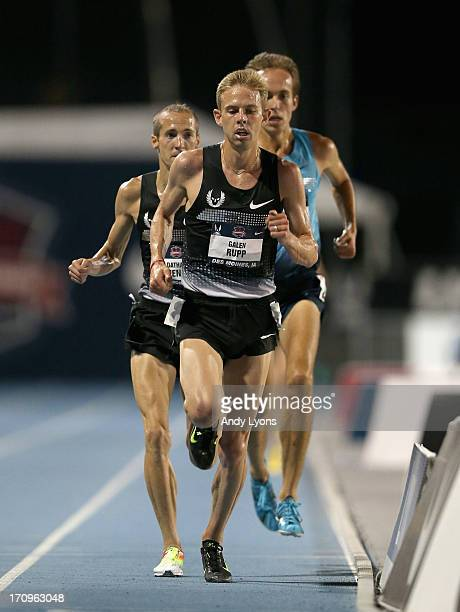 Galen Rupp leads on the last lap on his way to win the Mens'10000 Meter on day one of the 2013 USA Outdoor Track Field Championships at Drake Stadium...