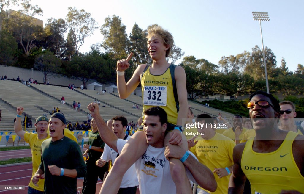 Galen Rupp of Oregon rides on the shoulders of Tommy Skipper after the Ducks won the men's team title in the Pacific10 Conference Track Field...